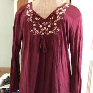 Sonoma Embroidered long sleeve boho T shirt